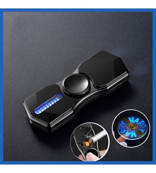 Hột Quẹt Bật Lửa Hồng Ngoại Kiêm Đèn Pin Sạc Điện USB Kiểu Dáng Spinner Tạo 12 Hiệu Ứng Đèn Led