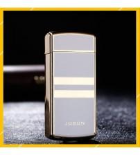 Hộp Quẹt Bật Lửa Vảy Sạc Điện 2 Tia Lửa Plasma Đan Chéo Jobon ZB-389 Có Đèn Báo Pin