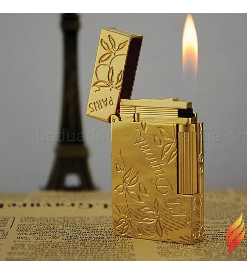 Bật lửa ST Dupont vàng hoa lá