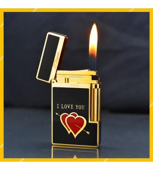 Hộp Quẹt Bật Lửa Gas Đá S.T Dupont D129 Thiết Kế Họa Tiết Sơn Mài Đen Trái Tim In Chữ I LOVE YOU Độc Đáo - Dùng Gas Đá Cao Cấp