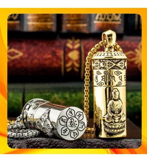 Hộp Qụet Bật Lửa Xăng Chief CF215 Kiêm Vòng Cổ Họa Tiết Hình Phật Đẹp Độc Lạ