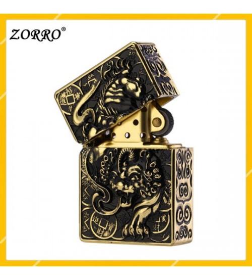 Hộp Qụet Bật Lửa Xăng Đá Zorro Z-KJ1003D Họa Tiết Kì Lân 1 Sừng Đẹp Độc Lạ