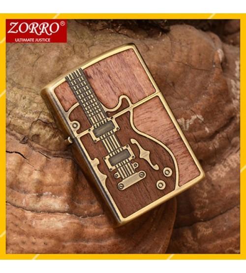 Hột Qụet Bật Lửa Xăng Đá Zorro Z85914 Họa Tiết Cây Đàn Đẹp Độc Lạ - Dùng Xăng Bấc Đá Cao Cấp