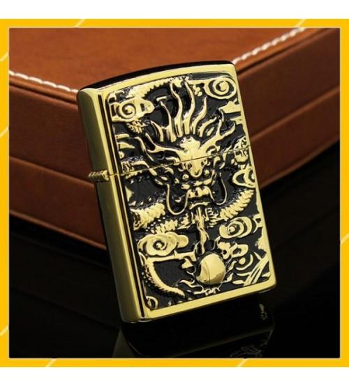 Hộp Qụet Bật Lửa Xăng Đá Zorro Z91226, Họa Tiết Hình Rồng Ôm Ngọc
