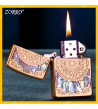 Hột Qụet Bật Lửa Xăng Đá Zorro Z91751 Họa Tiết Khảm Trai Hình La Bàn Đẹp Độc Lạ - Dùng Xăng Bấc Đá Cao Cấp