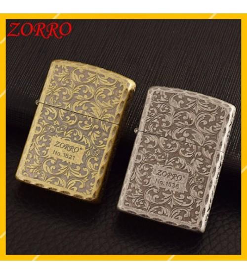 Hột Qụet Bật Lửa Xăng Đá Zorro Z92045B Thiết Kế Đẹp Độc Lạ - Dùng Xăng Bấc Đá Cao Cấp