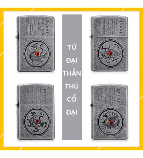 Hột Qụet Bật Lửa Xăng Đá Tứ Đại Thần Thú Đẹp Độc Lạ zorro z151 - combo 4 chiếc full box thích hợp làm quà tặng