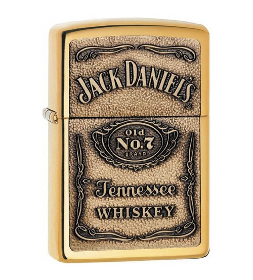 Jack Daniels Polished Brass Emblem Zippo Lighter