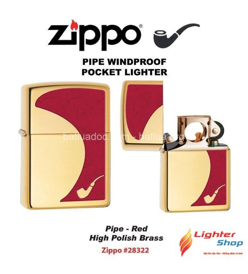 Zippo Pipe Lighter Red High Polish Brass