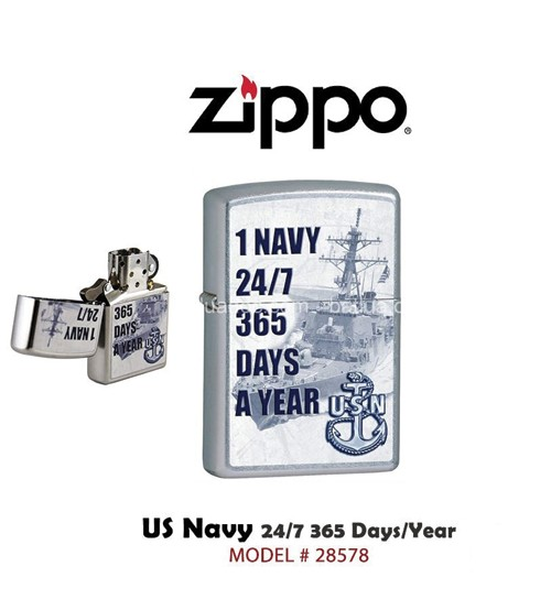 Zippo 1 Navy 24/7 365 Days A Year