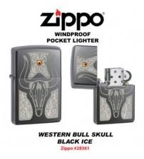 Zippo bull skull black ice