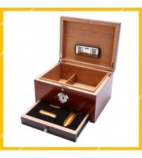 Tủ Giữ Ẩm Hộp Đựng Bảo Quản 50 Điếu Cigar Cohiba COB-950 Gỗ Tuyết Tùng Cao Cấp Kèm Bộ Phụ Kiện Bật Lửa Dao Cắt và Gạt Tàn Tiện Lợi