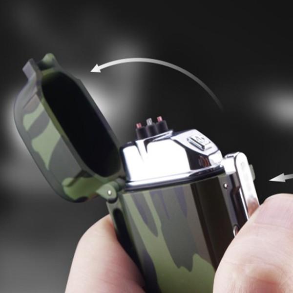 hột quẹt bật lửa sạc điện usb quân đội f18 2 tia lửa